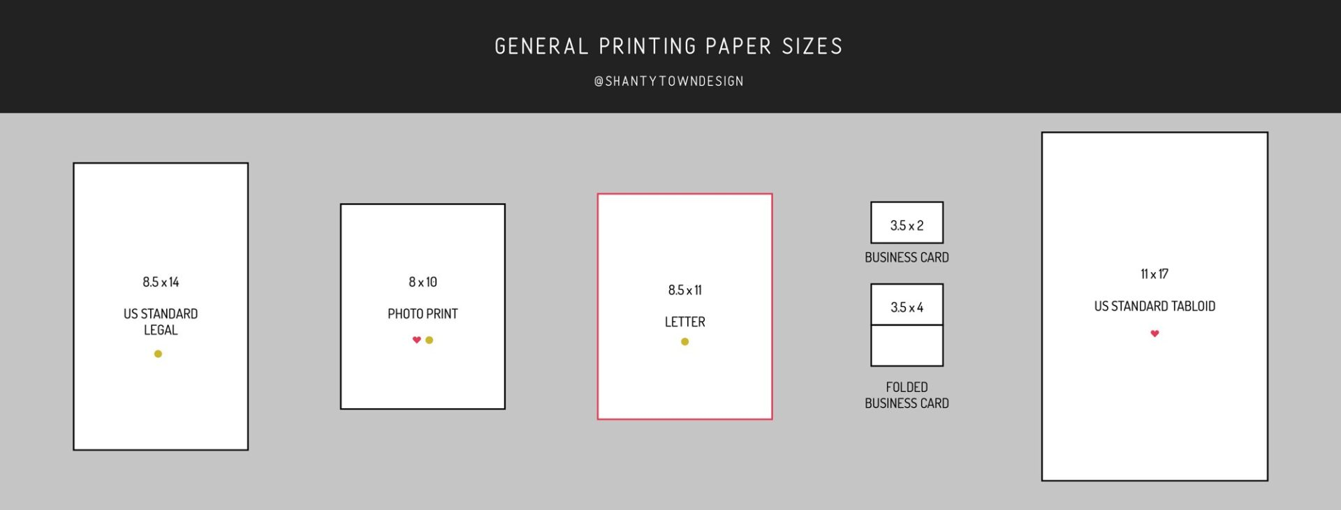 general paper printing size guide, US standard paper sizes