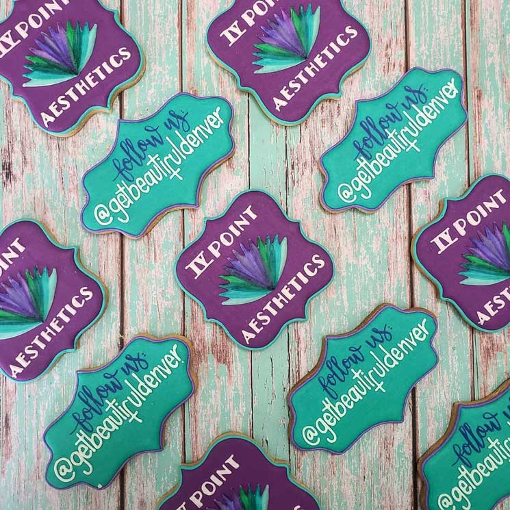 sweet fabula custom cookies featuring IV Point Aesthetics logo